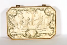 Rare circa 17th century Ivory Box, depicting a Human Sacrifice, Possible South Sea Origin, large