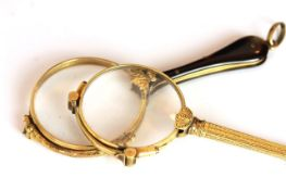 Pair of Antique Lorgnettes , one gold plated pair with a faux tortoise shell handle, the other