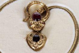 Victorian Garnet Set Snake Necklace, fine detailed snakes head set with a large cabochon garnet,