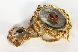 Victorian Moss Agate and Citrine Brooch, a central 38x28mm panel of moss agate, a citrine set to