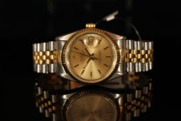 GENTLEMAN'S CLASSIC TWO TONE ROLEX DATEJUST , MODEL 16233, SN W20.... CIRCA 1995, round, champagne