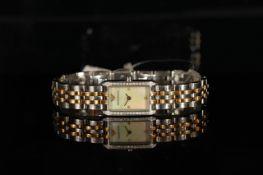 LADIES' EMPORIO ARMANI DIAMOND SET WRISTWATCH, rectangular mop dial with diamond set bezel on