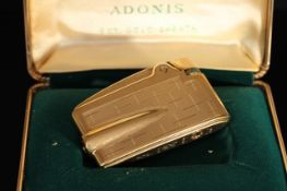 9CT VINTAGE RONSON ADONIS VARAFLAME LIGHTER, 9ct sheath,58x46mm case, hallmarked 9ct, comes with box