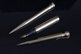 Group of 1 fountain pen and 2 pencils, 9ct yellow gold Mabie, Todd & Co swan fountain pen, 9ct