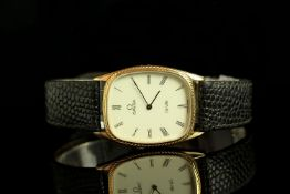 GENTLEMANS OMEGA DEVILLE DRESS WATCH, tv shape,beige dial with gold hands, black roman numeral