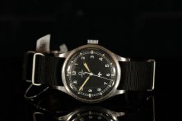 GENTLEMENS OMEGA '53' BRITISH MILITARY WRISTWATCH REF. 2777 1, circular black dial with white Arabic