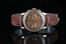 GENTLEMENS CHRONOGRAPHE SUISS 18CT ROSE GOLD WRISTWATCH, circular twin register two tone chocolate