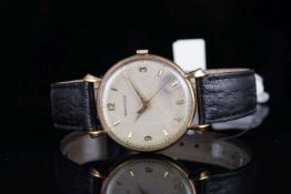 GENTLEMENS JAEGER LECOULTRE OVERSIZE 9CT GOLD WRISTWATCH, circular patina dial with gold hour