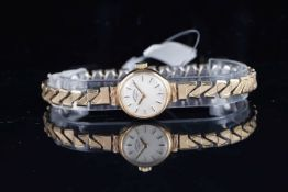 LADIES ROTARY 9CT GOLD WRISTWATCH, circular silver