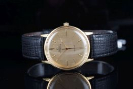 GENTLEMENS OMEGA DE VILLE 18CT GOLD AUTOMATIC WRISTWATCH REF. 1655008, circular brushed gold dial