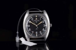 GENTLEMENS HAMILTON BRITISH MILITARY ISSUED WRISTWATCH CIRCA 1973, circular black dial with crows