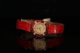 LADIES 18K DE LANEAU WRISTWATCH, DIAMOND PAVE DIAL AND RUBY SET BEZEL, MODEL GE65, round, pave