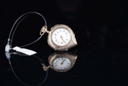LADIES HEART SHAPED 14CT POCKET WATCH, circular wh
