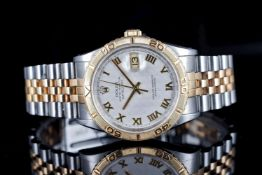 GENTLEMENS ROLEX OYSTER PERPETUAL DATEJUST TURN-O-GRAPH WRISTWATCH REF. 16263, circular two tone