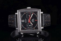 GENTLEMENS HEUER MONACO AUTOMATIC CHRONOGRAPH WRISTWATCH REF. 1133, square grey twin register dial