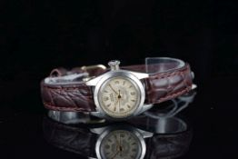 LADIES ROLEX OYSTER PRECISION WRISTWATCH REF. 5004, circular patina dial with gold hour markers