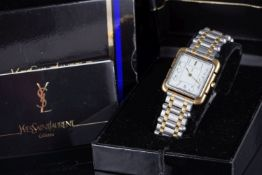 GENTLEMENS YVES SAINT LAURENT WRISTWATCH W/ BOX PAPERS & SPARE LINKS, square white dial with gold
