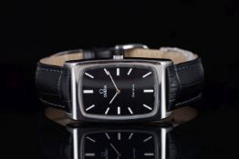 VINTAGE OMEGA GENEVE REFERENCE 111.0110 , rectangular black dial with white baton hour markers, 28mm