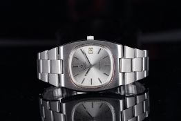 GENTLEMENS OMEGA AUTOMATIC GENEVE DATE WRISTWATCH W/ TRAVEL POUCH, rounded silver dial with silver