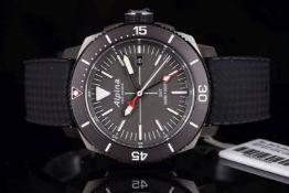 NOS UNWORN ALPINA GENEVE DIVER GMT REF AL247X4TV6, dark grey dial, luminous baton hour markers and