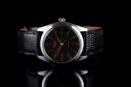 GENTLEMENS ROLEX OYSTER PRECISION WRISTWATCH REF. 6424, circlar black spotted gilt dial with
