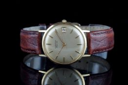 GENTLEMENS BLANCPAIN 18CT GOLD DATE WRISTWATCH, circular gold dial with gold hour markers and hands,