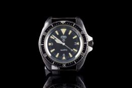 GENTLEMENS CWC DIVERS WRISTWATCH HEAD ONLY 7573314, circular black dial with hour markers and arabic