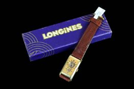 Rare Longines 18ct Solo Tempo Doctors Watch, rectangular 18ct gold case, 19.5mm, duel dials, the