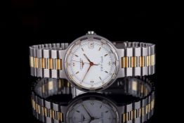 GENTLEMENS LONGINES CONQUEST THERMO VHP LI QUARTZ WRISTWATCH, circular white dial with gold and
