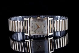 GENTLEMENS WITTNAUER WRISTWATCH, rectangular gold dial with gold hour markers and hands,