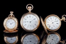 GROUP OF THREE GOLD FILLED AND PLATED POCKET WATCHES INCLUDING WALTHAM, the open faced Waltham is