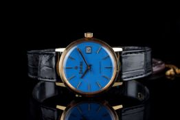GENTLEMENS NOS ZODIAC AUTOMATIC DATE 18CT GOLD WRISTWATCH, circular baby blue dial with gold hour