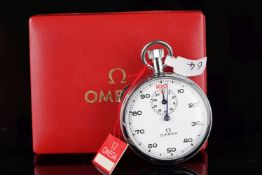 VINTAGE OMEGA TIMER W/ BOX & SWING TAG, circular white dial with black Arabic numerals and a seconds