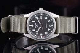 GENTLEMENS PULSAR MILITARY WRISTWATCH, circular black dial with lume Arabic numerals and hands,