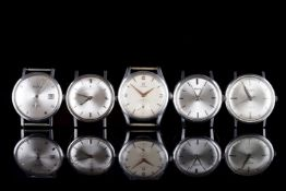 GROUP OF 5 VINTAGE WATCHES INCL OMEGA ZENITH BUREN, all watches have circular silver dials with