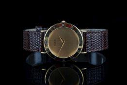 GENTLEMENS GUCCI WRISTWATCH REF. 3000.2.M, circular gold dial with gold hands, roman numeral bezel