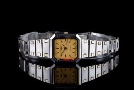 LADIES LONGINES XL 24 WRISTWATCH, rectangular gold dial with gold hour markers and hands, gold bezel