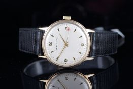 GENTLEMENS SMITHS ASTRAL 9CT GOLD WRISTWATCH, circular silver dial with applied gold hour markers