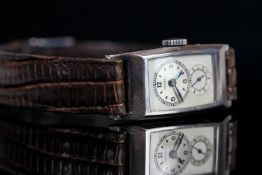 Vintage Longines Dual Dial Doctors Watch, rectangular silvered dial, circular dial with Arabic