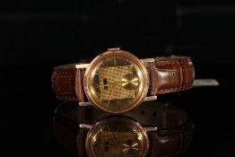 GENTLEMANS GOLD PLATED GRUEN VINTAGE WATCH, round gold dial