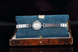 LADIES LONGINES 14CT WHITE GOLD COCKTAIL WATCH W/ BOX, circular silver dial with silver hour