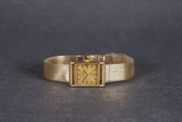 LADIES JEAN RENET 9CT GOLD WRISTWATCH, square gold dial with hour markers and hands, 17.5mm 9ct gold
