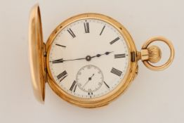 Early 20th C Quarter Repeater 18ct Pocket watch, demi hunter case, white porcelain dial with applied