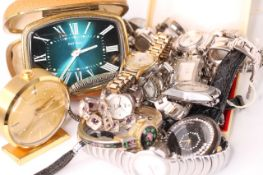 Mixed lot of misc watches and clocks including; Accurist, Estyma Travel clock, vintage Baume