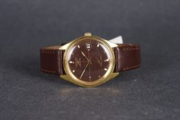GENTLEMENS LONGINES AUTOMATIC ULTRA CHRON WRISTWATCH, circular brown gilt sector dial with applied