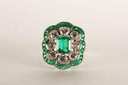 Victorian-Style Emerald and Diamond Ring, set with calibre cut emeralds and round brilliant cut