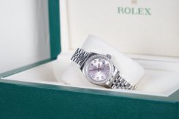 LADIES ROLEX OYSTER PERPETUAL DATEJUST DIAMOND SET WRISTWATCH W. BOX REF. 179384 CIRCA 2010,