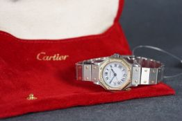 LADIES CARTIER SANTOS AUTOMATIC WRISTWATCH, circular white dial with black roman numeral hour