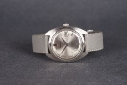 GENTLEMENS SEIKO DATE WRISTWATCH REF. 6602-8040, circular silver dial with silver hour markers and
