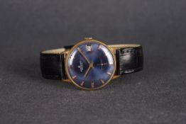 GENTLEMENS BREITLING DATE WRISTWATCH, circular blue dial with gold hour markers and hands, date